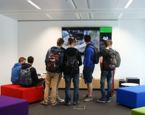 Pupils played video games after the launch of Kodu Kup at Microsoft Innovation Center in Brussels