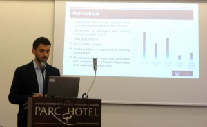 Laurentiu Bunescu presenting the results of an impact assessment survey at the workshop